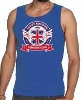 Blauw engeland drinking team tanktop mouwloos shirt heren