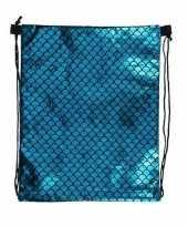 Blauw gymtasje met vissen schubben