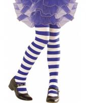 Blauw met witte peuter panty gestreept