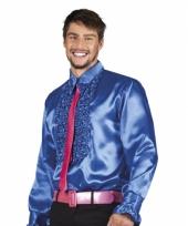 Blauw overhemd met rouches