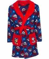 Blauw rode paw patrol badjas met capuchon voor jongens
