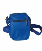 Blauw schoudertasje met rits 15 cm