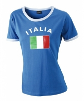 Blauw t-shirt met italy print dames