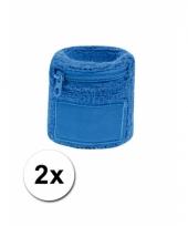 Blauw zweetbandje met rits 2 stuks
