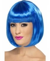 Blauwe bob pruik voor dames