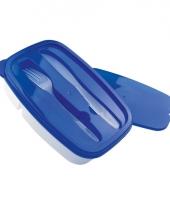 Blauwe broodtrommel met bestek