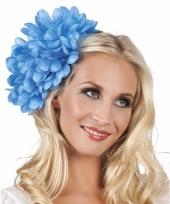Blauwe flamenco haarbloem 20 cm