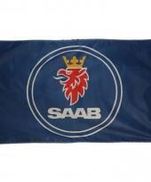 Blauwe garage vlag saab