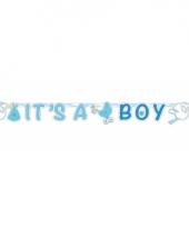 Blauwe geboorte letterslinger 170 cm