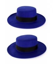Blauwe hoed met brede rand
