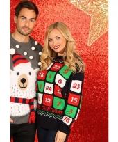 Blauwe kerst sweater met kerst kalender 10075520