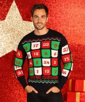 Blauwe kerst sweater met kerst kalender