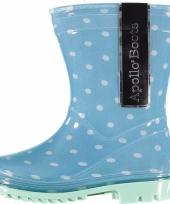 Blauwe kids regenlaarzen met stippen