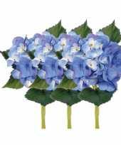 Blauwe kunstbloem hortensia 48 cm