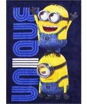 Blauwe minions fleece deken voor jongens