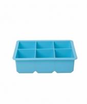 Blauwe siliconen ijsblokjes maker 6 kubussen