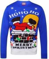 Blauwe sweater met kerstman voor volwassenen