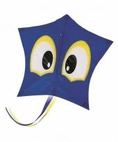 Blauwe vlieger met ogen 74 cm