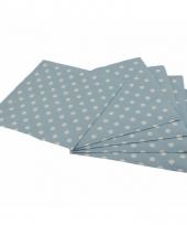 Blauwe wegwerp servetten met witte stippen 16st