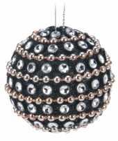 Bling bling kerstballen zwart met steentjes 9x