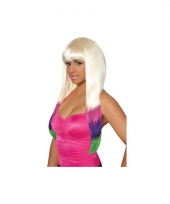 Blonde pruik met gekleurde onderkant