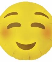 Blozende emoticon folie ballon 46 cm