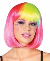 Boblijn pruik roze en rainbow pony