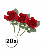 Boeket kunstbloem rozen 30 cm rood 20st