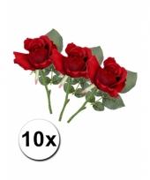 Boeket met 10 kunstbloem rozen 30 cm rood
