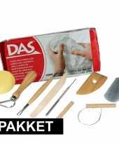 Boetseer basis pakket met witte klei en gereedschap