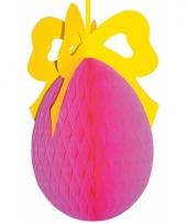 Brandvertragend roze paasei decoratie 40 cm