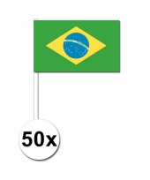 Brazilie zwaai vlaggetjes 50 stuks