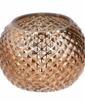 Bronzen glazen kaarsenhouder rond