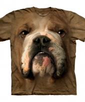 Brown bulldog face shirt the mountain