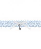 Bruids kousenband blauw met sleuteltje