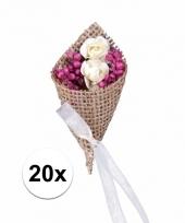 Bruiloft corsages met jute 20 stuks