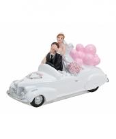 Bruiloft figuurtjes 15 x 9 cm roze bloemen