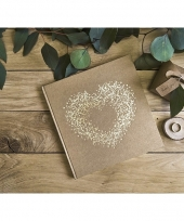 Bruiloft gastenboek met gouden hart