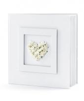 Bruiloft gastenboek met wit hart