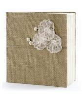 Bruiloft gastenboek van jute 20 5 cm