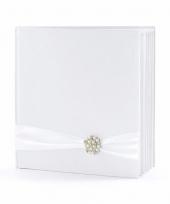 Bruiloft gastenboek wit met kralen rozet