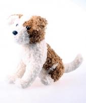 Bruin met witte knuffel hond 22 cm