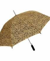 Bruin zwarte luipaard print paraplu 80 cm