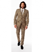 Bruine business suit met luipaard print