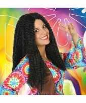 Bruine hippie flower power verkleed pruik voor dames