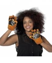 Bruine honden handschoenen voor volwassenen