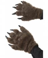 Bruine monster handschoen met haar