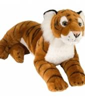 Bruine tijger knuffel liggend 40 cm