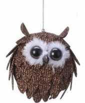 Bruine uil kerstversiering hangdecoratie 9 cm