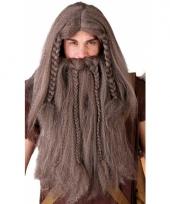 Bruine vikingspruik met baard